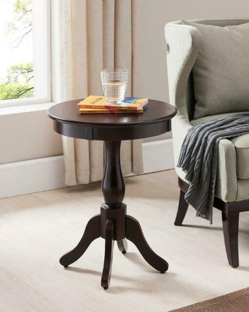 Small Round Side Table Furniture End Accent Industrial Brown Pedestal Cherry
