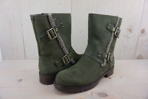 85c086ec645 Details about UGG 1018607 NIELS SLATE LEATHER WATER RESISTANT MOTO BOOTS  WOMENS US 11 NIB