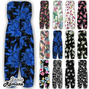 New-Womens-Floral-Sheering-Gathered-Bandeau-Boobtube-Playsuit-Jumpsuit-Culottes