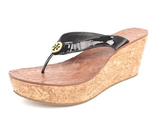 d51016108758bd Tory Burch 3484Thora Wedge Thong Women Sandals Black Patent Leather Size  9.5 NEW