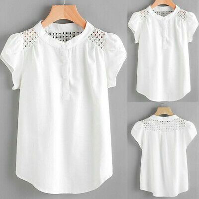 Women Solid O-Neck Hollow Out T-Shirt Short Butterfly Sleeve Casual Tops Blouse