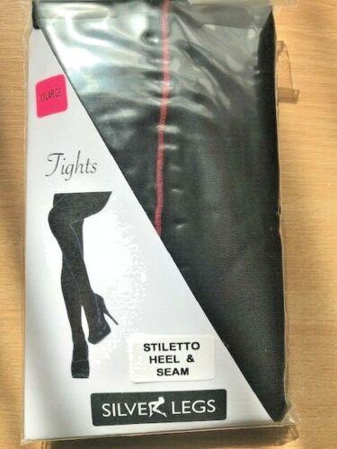 """noir avec rouge Couture Talon Aiguille XXL 60/""""and XL de 54/"""" Collants aspect brillant"""