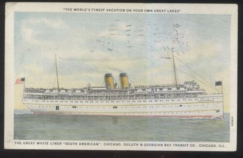 "POSTCARD GREAT LAKES STEAMER LINER ""SOUTH AMERICAN"" 1920'S"