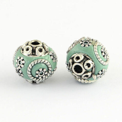 10pcs Golden//Antique Silver Alloy Cores Round Handmade Indonesia Beads 15x14mm