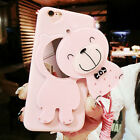 3D Cute Bear Mirror Pink Soft TPU Case Cover For iPhone With Neck Strap Lanyard