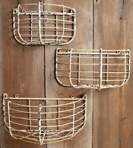Rustic Wrought Iron Large Half Round Half Wall Basket Flower
