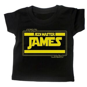 Baby-T-Shirt-BOYS-039-PERSONALISE-WITH-NAME-039-STARWARS-Movie-Tee-Slogan-Custom-Gift