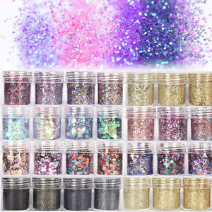 Nail-Art-Glitter-Powder-Kit-Mix-Acrylic-Gel-Powder-Sequins-3D-Decoration-Silver