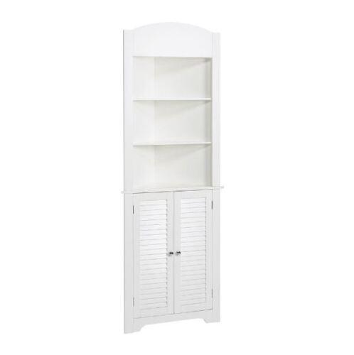 Corner Bathroom Linen Storage Tower Cabinet Freestanding White Organizer W Shelf Bath Caddies Storage Home Garden