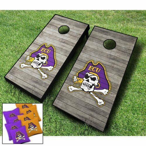EAST CAROLINA PIRATES  Distressed  CORNHOLE WRAPS BOARD SET + 8 Regulation Bags