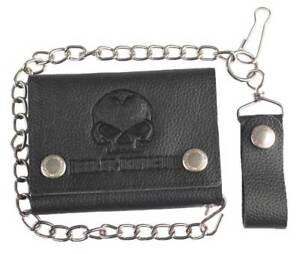 Harley-Davidson® Mens Willie-G Skull Black Leather Chain Tri-fold Wallet XML4721