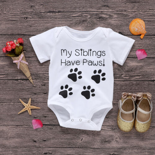 Toddler Baby Boys Girls My Siblings Have Paws Summer Playsuit Jumpsuit Bodysuit