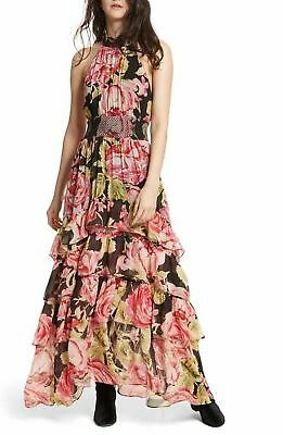 $300 NWT FREE PEOPLE FULL BLOOM HALTER TIERED FLORAL MAXI DRESS SIZE LARGE