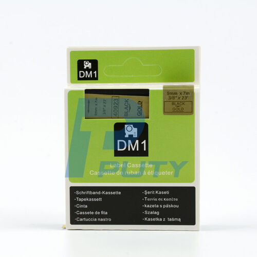 """1PK Black on Gold Tape Label Compatible for DYMO 40923 D1 9mm 7M 3//8/"""" X 23/'"""