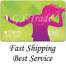 Apple iTunes $15 US Gift Card Carte Code Voucher Certificate USA USD iTune FAST