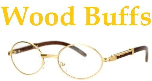e51dbc6aa1e7 Oval Wood Buffs Unisex Clear Glasses Oval Uv400 Lenses and Gold ...