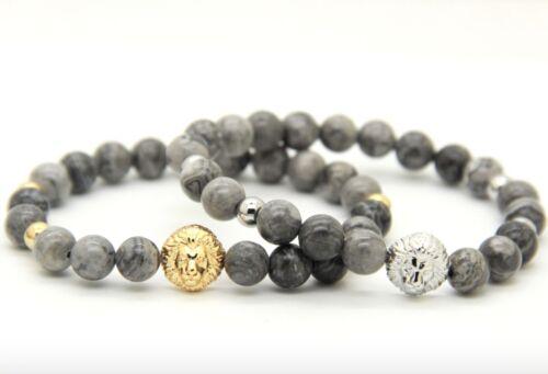 Löwe Armband GOLD//SILBER Edelstein grau Jasper Fashion Buddha Löwenkopf Lion