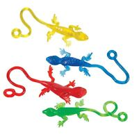24 Pcs 2.5 Leaping Sticky Lizards String Party Favor Gift Birthday Loot Filler