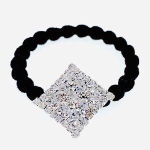 Ponytail-holder-Elastic-Rhinestone-Crystal-Hair-Tie-Rope-Silver-Clear-Rhombus-N8