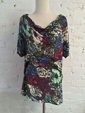 Lanvin Knit Draped Neck Top Bold Floral Print size L