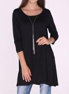 New-3-4-Sleeve-Black-Stretch-Tunic-Top-Shirt-Blouse-Dress-S-M-L-Plus-Size