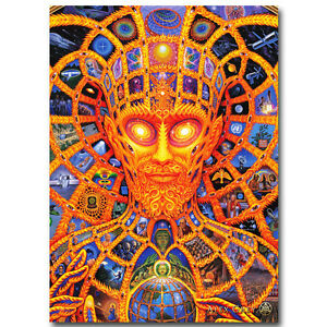 Cosmic christ trippy alex grey abstract silk fabric poster for Cosmic print fabric