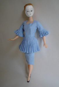 Lalka-Bild-Lilli-Doll-Outfit-Pleated-Peplum-Tailored-Pale-Blue-Day-Dress-NO-DOLL
