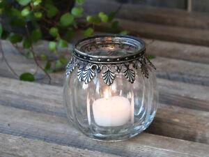 Teelichthalter Kerzenglas Teelichtglas Landhaus Shabby Nostalgie Chic Antique