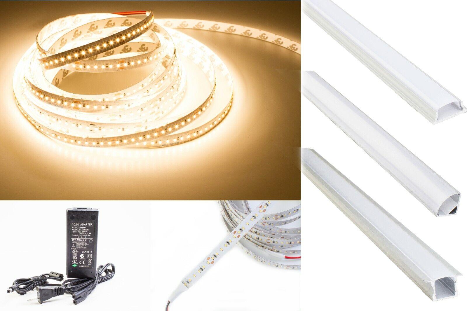 90 CRI LED Strip Light Warm Weiß 24v 3000K 2216 + Aluminum Channel + UL power