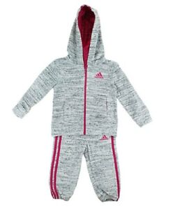 c031101bbe5c Adidas Girls 2 Piece Jacket   Pants Tracksuit Set Light Grey Pink