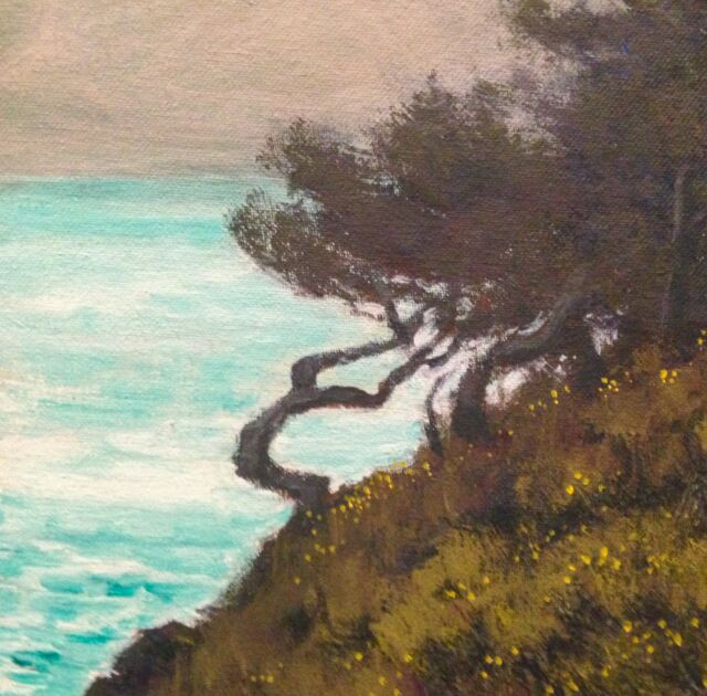California Carmel Point Lobos Ocean Landscape Art Oil Painting Impressionism New