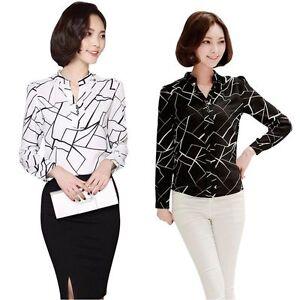 Women Summer Chiffon Work Wear Button Down Shirt Office