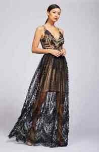 Dress The Population Chelsea Lace A Line Black Nude Dress
