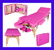 PINK PORTABLE MASSAGE TABLE COUCH BEAUTY THERAPY BED REIKI 4cm SPA