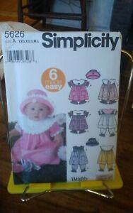 Ooo-Simplicity-6-made-easy-5626-babies-dress-pantaloons-bonnet-sz-nb-18m-NEW
