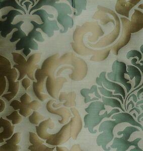 DESIGNERS GUILD Folio Radnor Arabesque Beige Sea Foam Green Silk Remnant New