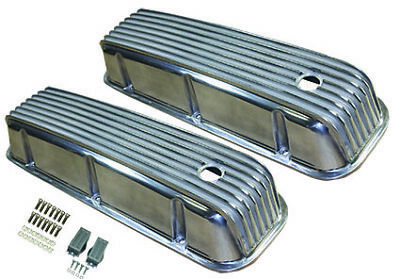 65-95 Chevy 454 Finned Polished Aluminum Tall Valve Covers Big Block 427 396