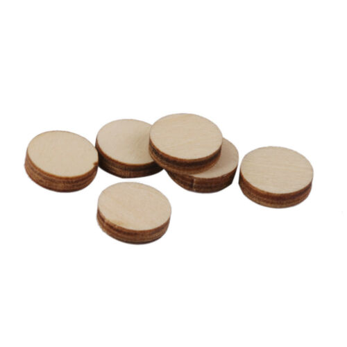 100 Unfinished Wooden Round Discs Embellishments DIY Rustic Art Crafts 10mm