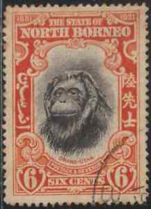 NORTH-BORNEO-1931-PICTORIAL-6c-ORANG-UTAN-MONKEY-USED-A-CAT-RM-15