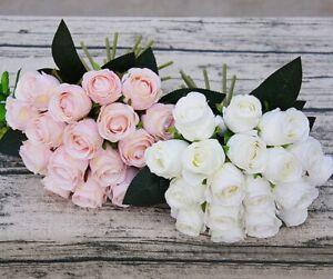 18 Têtes Handmade Real Touch Latex Rose Fleur Mariage Bouquet Décoration-afficher Le Titre D'origine