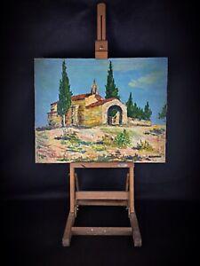 Hst au couteau peinture sur châssis signée J.P Gouson 1980 paysage chapelle