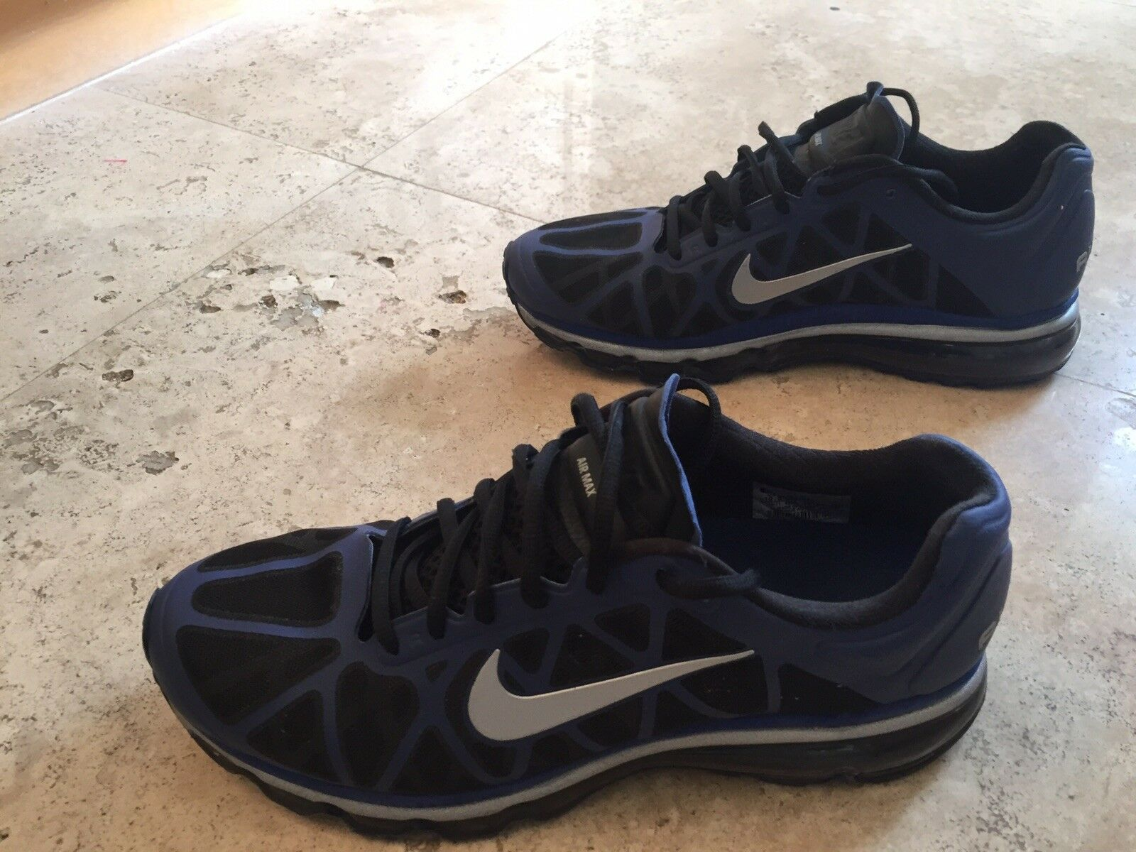 Nike Air Max + Running shoes Size 10.5 bluee Black Silver 429889-400