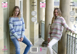 ee25c00172a26f Easy Knit Womens Round or Boat Neck Jumper Knitting Pattern King ...