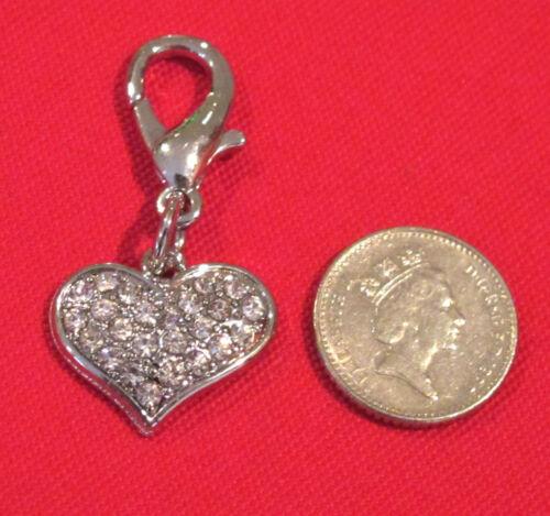 Dog Pet Collar Zip Bracelet Bag Charm Czech Crystal Heart Tag Bling FREE P/&P