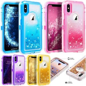 low priced bae2e cbc7a Details about For iPhone X/XS Quicksand Liquid Glitter Defender Case (Clip  Fits Otterbox)