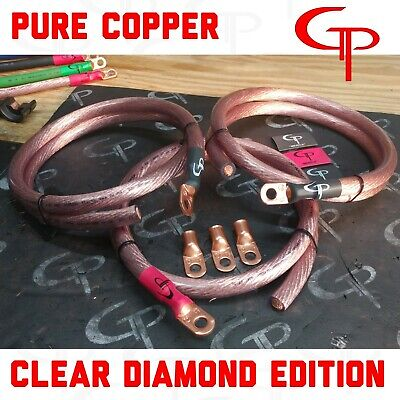 GP Car Audio Big 3 UPGRADE Kit OFHC PURE COPPER 4 AWG GAUGE Red and Black