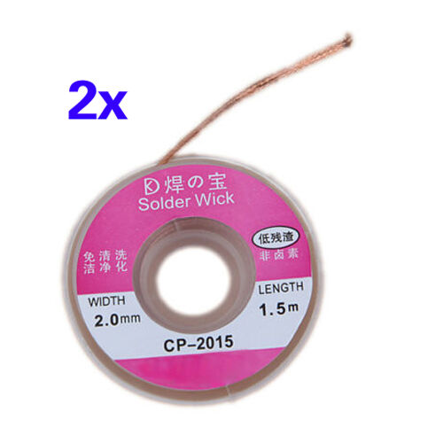 PACK OF 2 X 2mm,1.5 MSolder Wick Remover Desoldering Wire Sucker Cable Fluxed