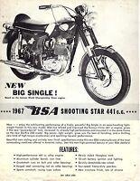 1967 Bsa Shooting Star 441cc Single Motorcycle Sales Brochure (reprint) $6.00