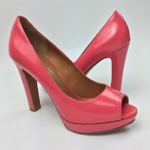 Leather Marc Size 6 Pumps High Peep Shoes By Pink Jacobs About Platform Details Heels Toe I6m7ybfgvY