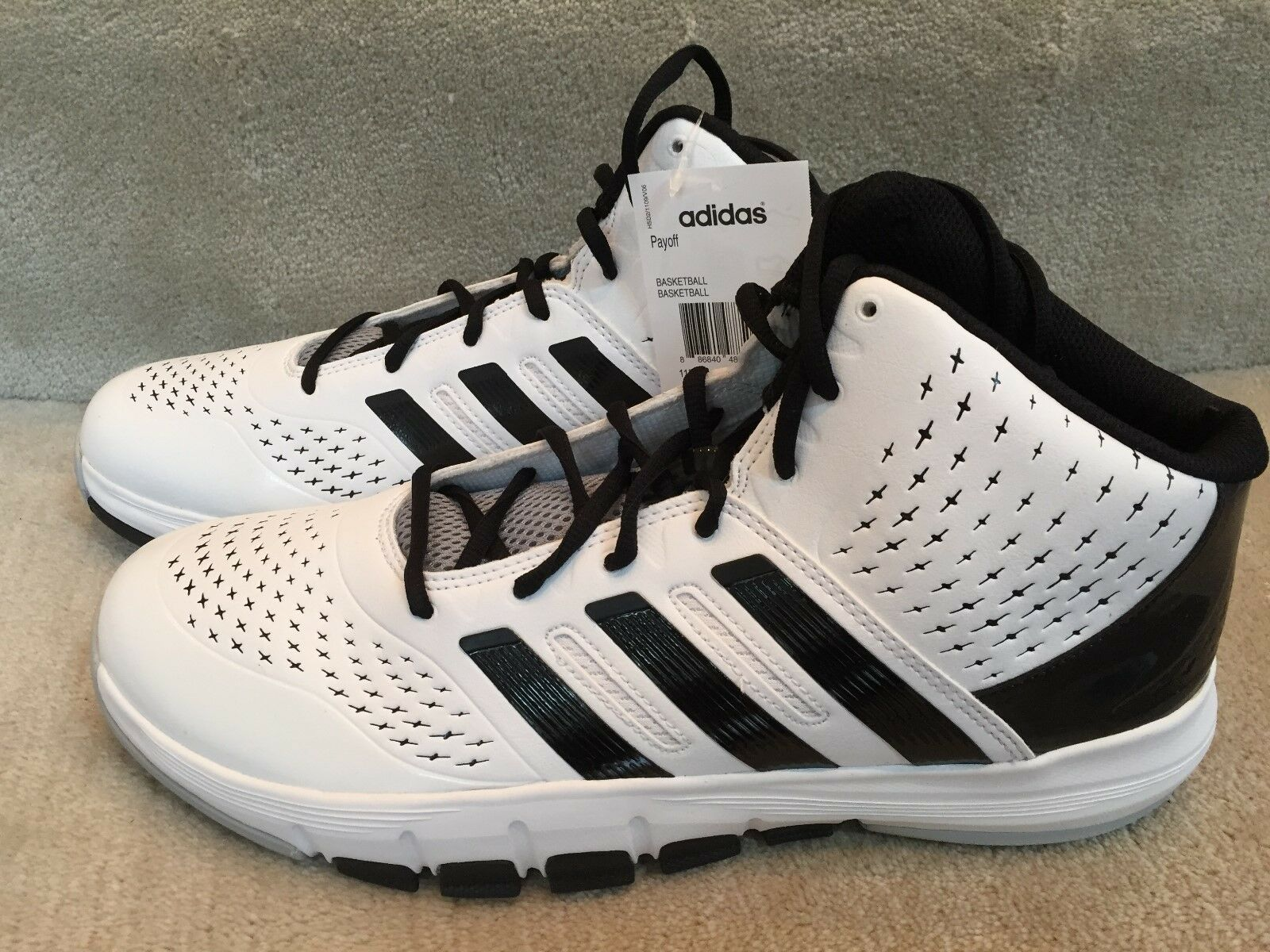 ADIDAS PAYOFF WHITE BLACK SIZE 12 NEW WITH BOX